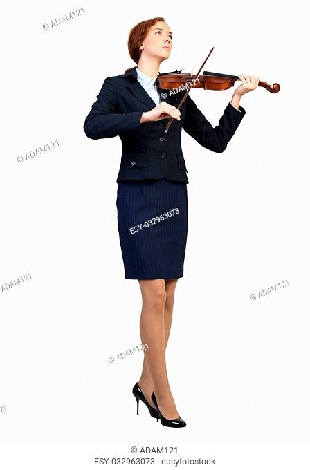 Young pretty businesswoman playing violin isolated on white