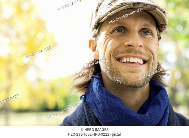 Close-up of happy man at park
