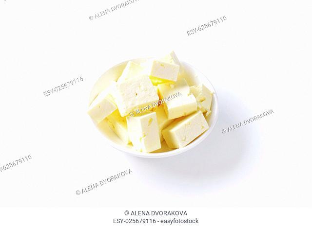 bowl of feta cheese cubes