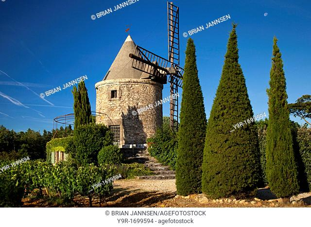 Springtime at a windmill home and vineyard near Gordes, Provence France