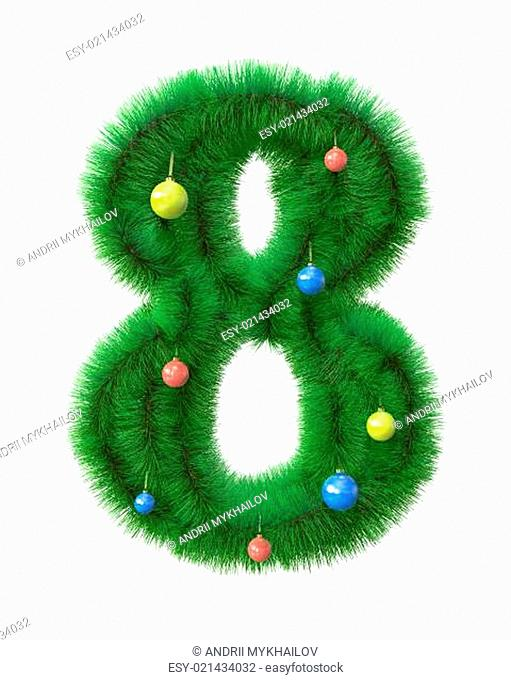8 number made of christmas tree branches