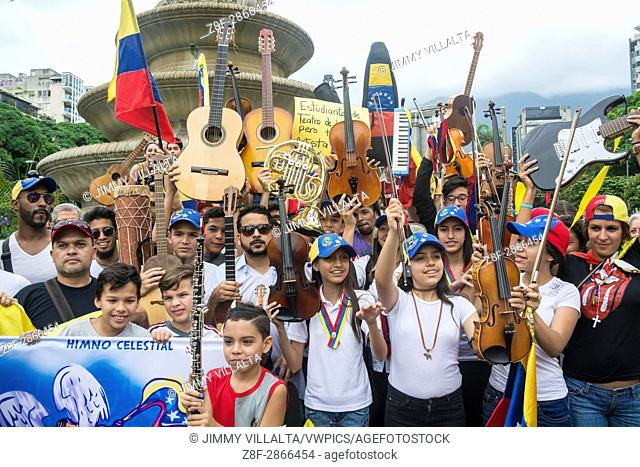 Children musicians congregate in the Francia square of Altamira, in a tribute for the dead in the last protests in Caracas