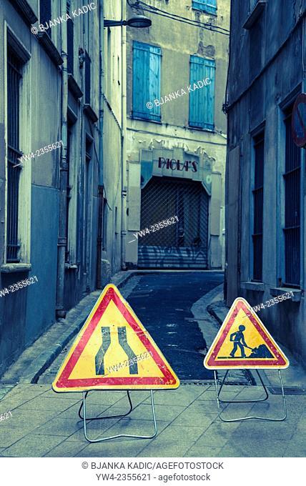 Road signs, Perpignan, France