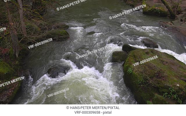 Pruem river at Waterfalls of Irrel, Eifel, Germany