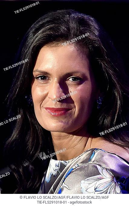 Veronica Berti, wife of the tenor Andrea Bocelli during the tv show Che tempo che fa, Milan, ITALY-28-10-2018