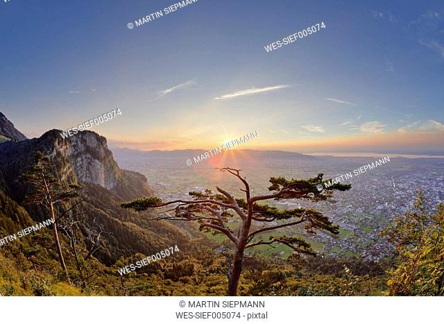 Austria, Dornbirn, View from Karren mountain over Rhine valley