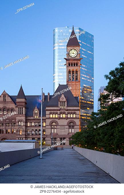 Old City Hall from Nathan Phillips Square in downtown Toronto, Ontario, Canada