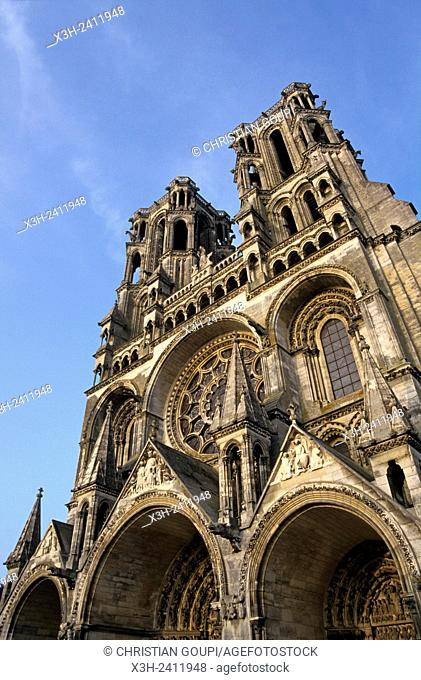 west facade of the Cathedral, Laon, Aisne department, Picardy region, northern France, Europe