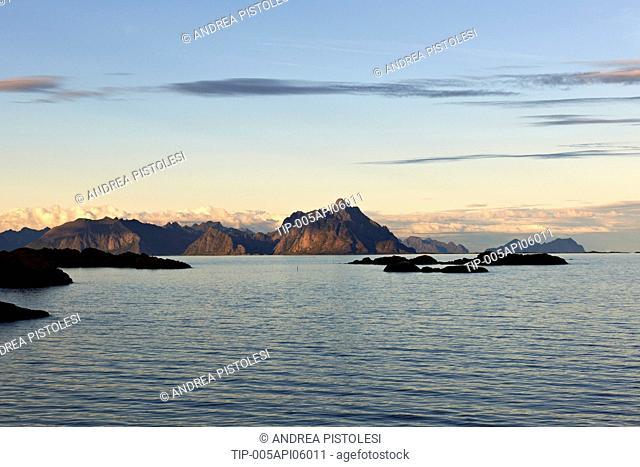 Norway, Hurtigruten Mail Ship, Lofoten Islands, Stamsund region navigation