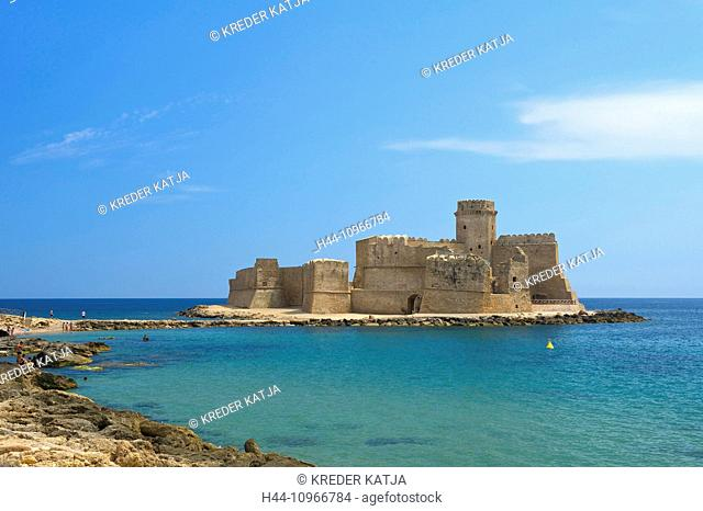 Italy, Europe, Calabria, outside, day, nobody, Isola di Capo Rizzuto, Le Castella, castle, building, construction, architecture, connection arrangement