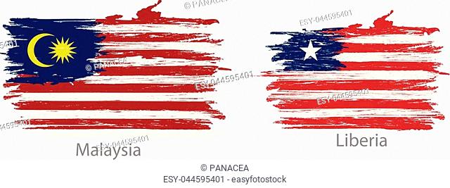 collection set of flags countries smears and paint stains