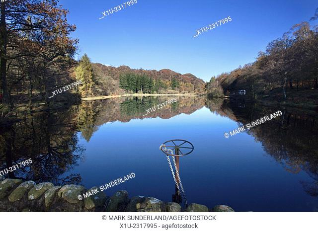 Yew Tree Tarn on a Sunny Autumn Day near Coniston Cumbria England