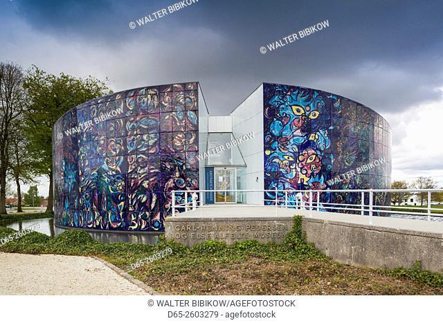 Denmark, Jutland, Herning, HEART Museum, art museum in manufacturing complex, exterior of the Carl Henning Pedersen and Else Alfelt Museum