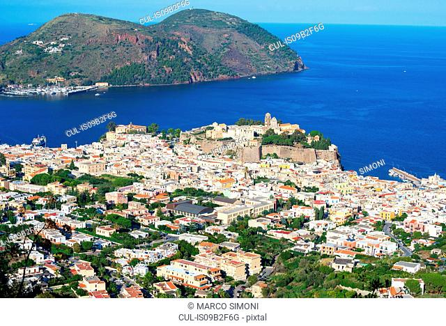 View of Lipari Town, Sicily, Italy