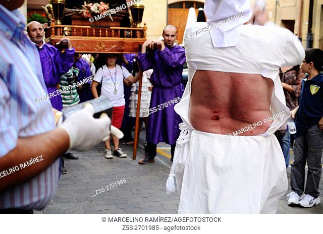 The procession of 'picaos' during the cross of September. The Picaos are a penance of the Christian religion, performed only in the town of San Vicente de la...