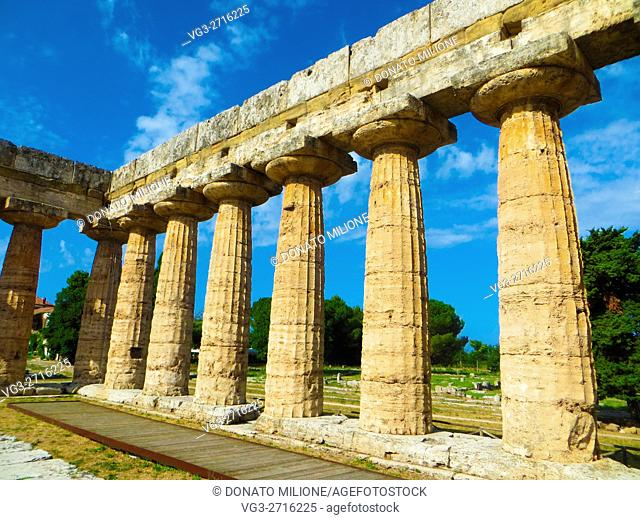 Paestum (Capaccio, SA, Campania, Italy). The temple of Hera also called Basilica (550- 540 b. C. ) is located in the archaeological site of Poseidon