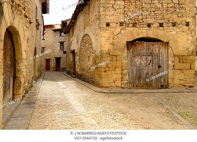 Mirambel, typical cobbled street. Alto Maestrazgo, Teruel province, Aragon, Spain