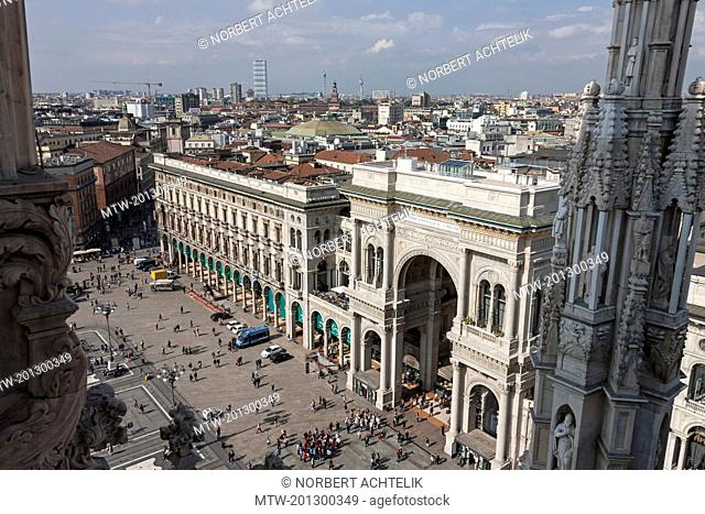 View of Galleria Vittorio Emanuele II from Cathedral (Duomo di Milano), Milan, Lombardy, Italy