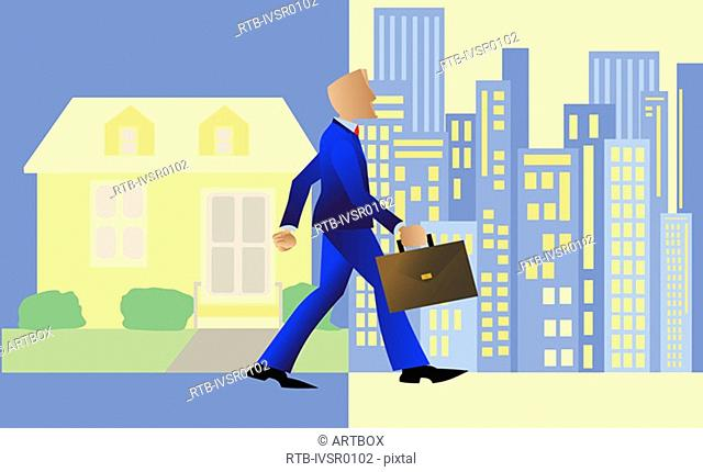 Businessman walking with a briefcase from a town into a city