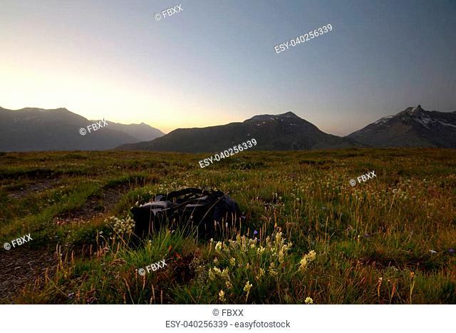 High altitude idyllic alpine landscape at sunrise.Location: Col du Petit Mont Cenis, Savoie, France
