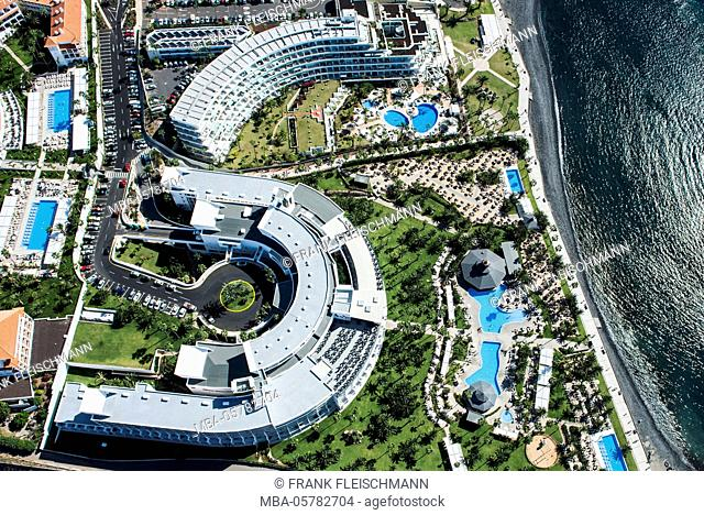 Wellness hotel with black beach, hotel of Riu Palace Tenerife, hotel of Altamira, Playa Del Duque, Costa Adeje, aerial picture, Canary islands, Tenerife, Spain