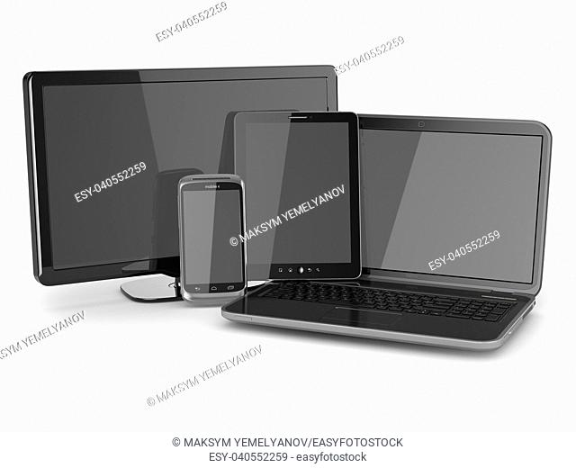 Laptop, tablet pc, tv and mobile phone. 3d