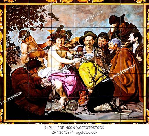 "Madrid, Spain. Restaurant 'El Madrono' Painted tiled decoration on exterior walls. Copy of Velazquez' """"Los Borachos"""" (painted by Julian Santacruz, 2000"