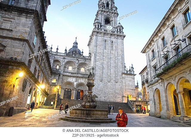 Santiago de Compostela by night Spain. Platerias square