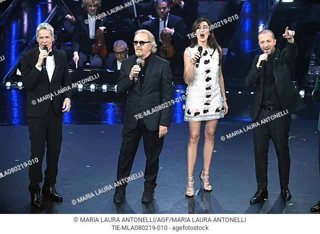 Claudio Baglioni, Umberto Tozzi, Virginia Raffaele, Raf, Claudio Bisio at the 69th Sanremo Music Festival, Sanremo, ITALY-07-02-2019