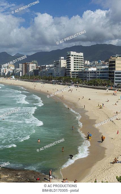 Aerial view of Rio de Janeiro beach, Rio de Janeiro, Brazil
