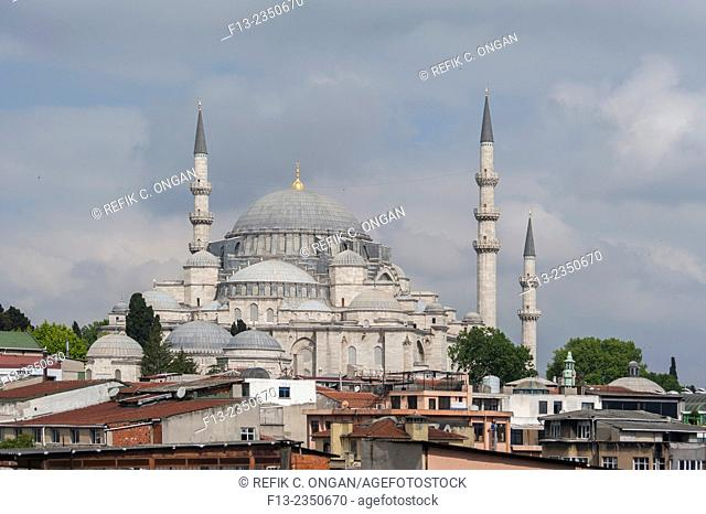 Suleymeniye mosque and old Istanbul houses