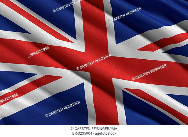 National flag of the United Kingdom waving in the wind