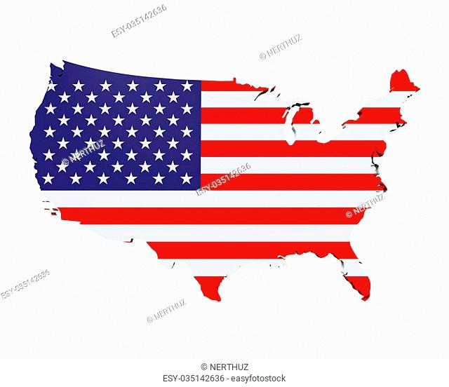 Map of the United States of America isolated on white background. 3D render