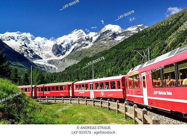 Rhaetian Railway in front of Bernina range with Piz Palue, Piz Bernina and Piz Morteratsch, valley of Morteratsch, Morteratsch, Bernina, Upper Engadin, Engadin