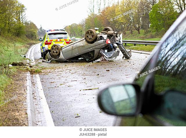 Crashed car on motorway