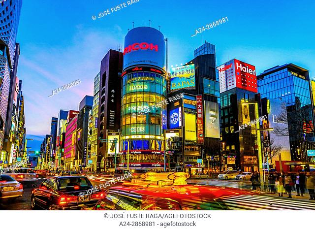 Japan, Tokyo City, Ginza area, Chuo and Harumi Avenues crossing