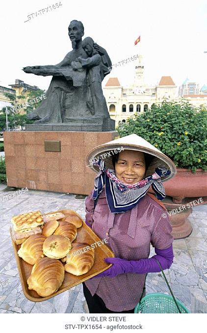 Asia, Female, Ho chi minh, Ho chi minh city, Holiday, Landmark, Model, Pastries, Released, Saigon, Selling, Statue, Tourism, Tra