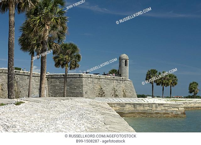 Palm Trees Castillo San Marco National Monument Saint Augustine Florida USA