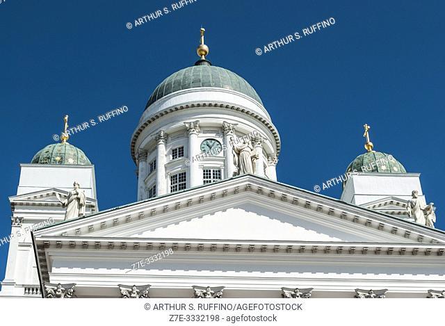 Green domes of Helsinki Cathedral (Helsingin tuomiokirkko), Senate Square. Helsinki, Finland, Europe