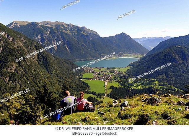 On the peak of Mt Feilkopf, near Pertisau on Achensee Lake, Karwendel range, Tyrol, Austria, Europe