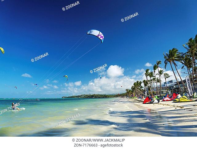 kite surfing on bolabog sports beach in boracay philippines