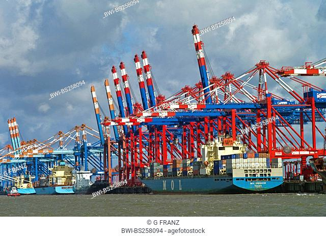 Stromkaje with container ships, Germany, Bremerhaven