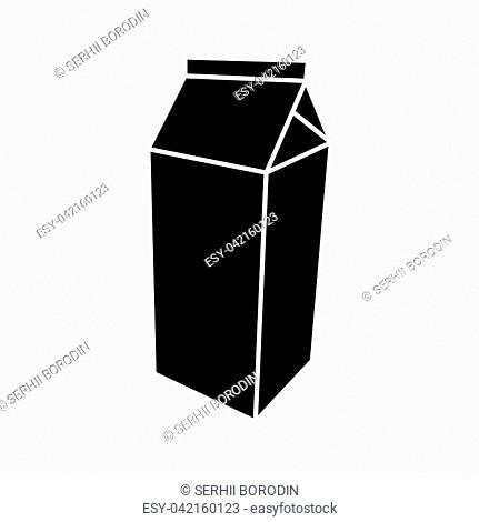Package for milk it is black color icon