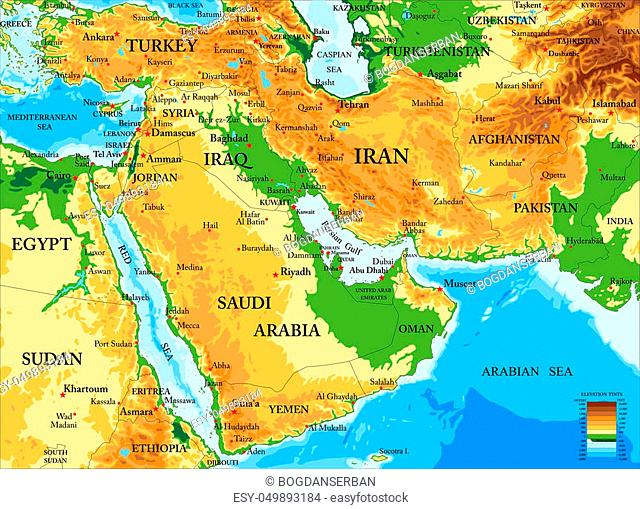 Highly detailed physical map of Middle East with all the relief forms