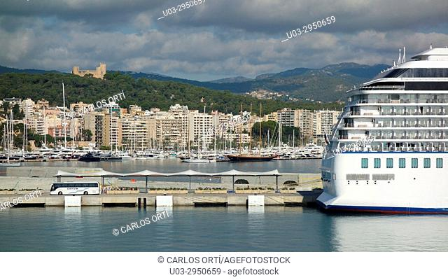 Partial view of the harbour of Palma de Majorca, the Balearic capital city, Spain, Europe