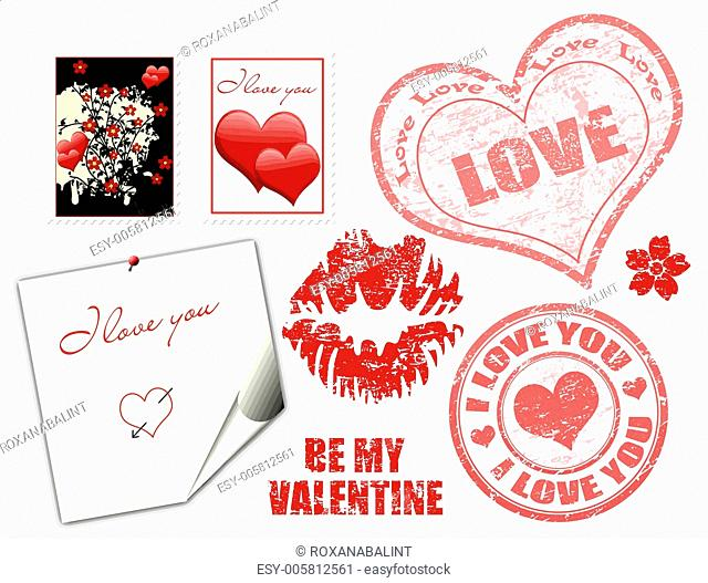 Valentine stamps and symbol