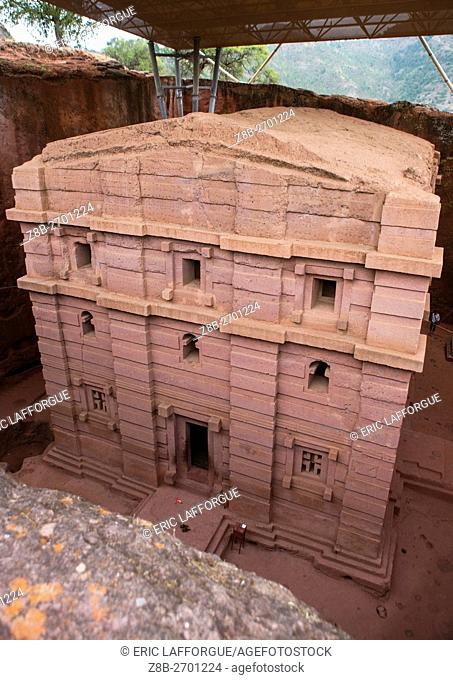 Ethiopia, Amhara Region, Lalibela, protective shelters over bete amanuel monolithic rock-cut church
