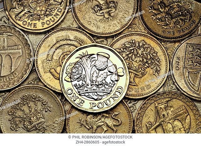 British pound coin - twelve-sided bimetallic 2017 release (dated 2016) on old designs