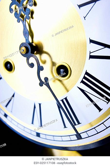 Analog clock, saturated bright tone concept