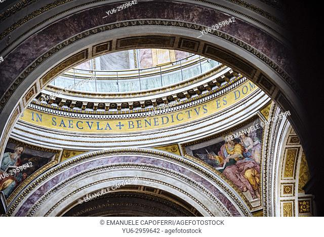 Detail of the inner domes of the Church of the Church of the Most Holy Trinity of Pilgrims, Rome, Italy